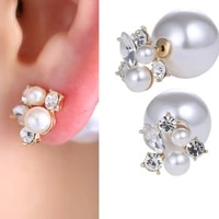 rinhoo 1pair fashion trendy double sides pearl earring two ball stud earrings for girls crystal jewelry new 2021