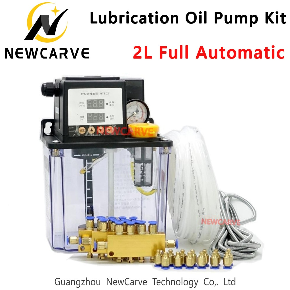 CNC Automatic Lubrication Oil Pump 2L Set Digital Electronic Timer Gear Pumps For Cnc Machine NEWCARVE