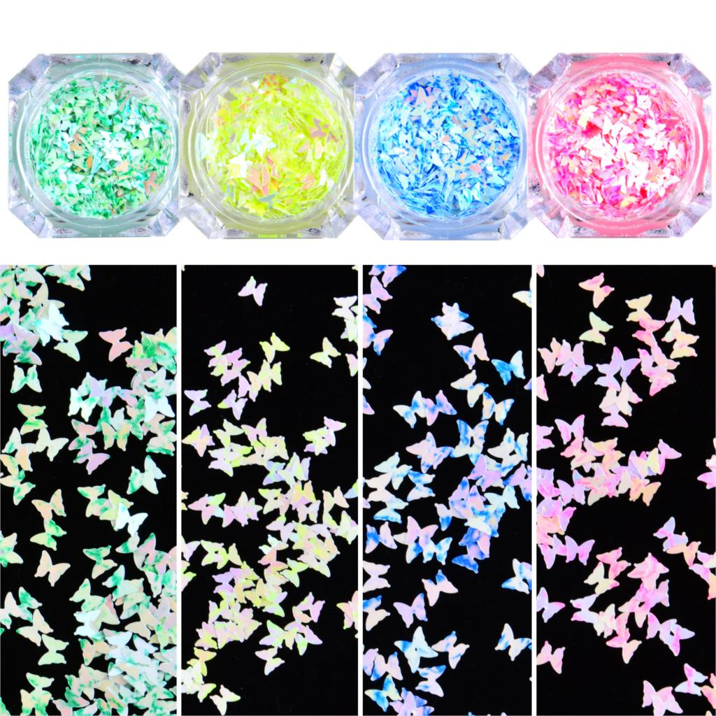 1 Box Colorful Butterfly Nail Sequins Paillette Mirror Sparkly Mermaid Sequins Spangles Polish Manicure Nails Art Decorations недорого