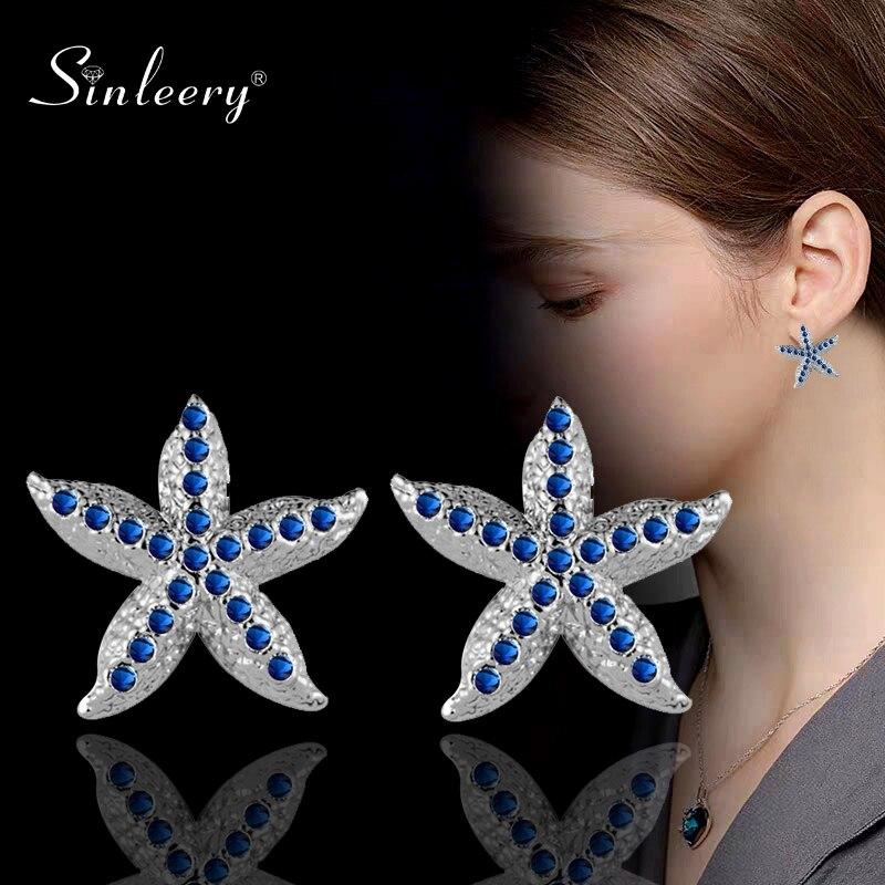 SINLEERY Cute Sea Star Starfish Design Stud Earrings Blue Pink Silver Color Tiny Rhinestone Earrings For Women Jewelry ES075 SSH