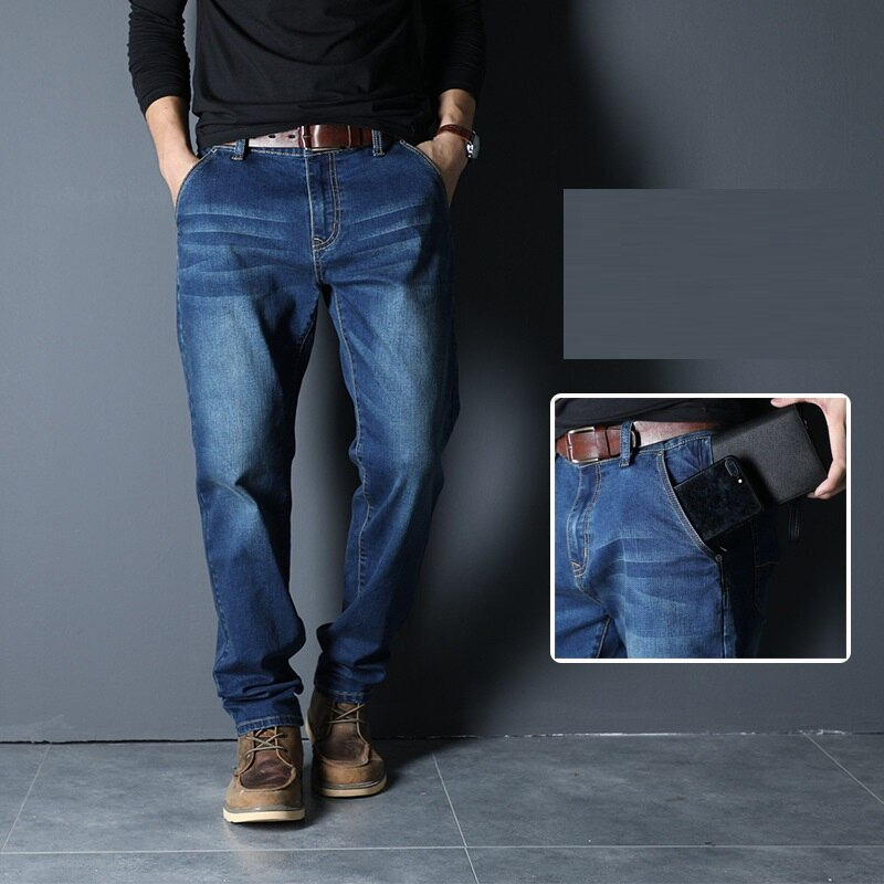 ICPANS cremallera Anti-robo bolsillos de mezclilla Jeans hombres recta suelta estiramiento WAutumn Jeans para hombre tamaño grande 42 44 46 48 negro
