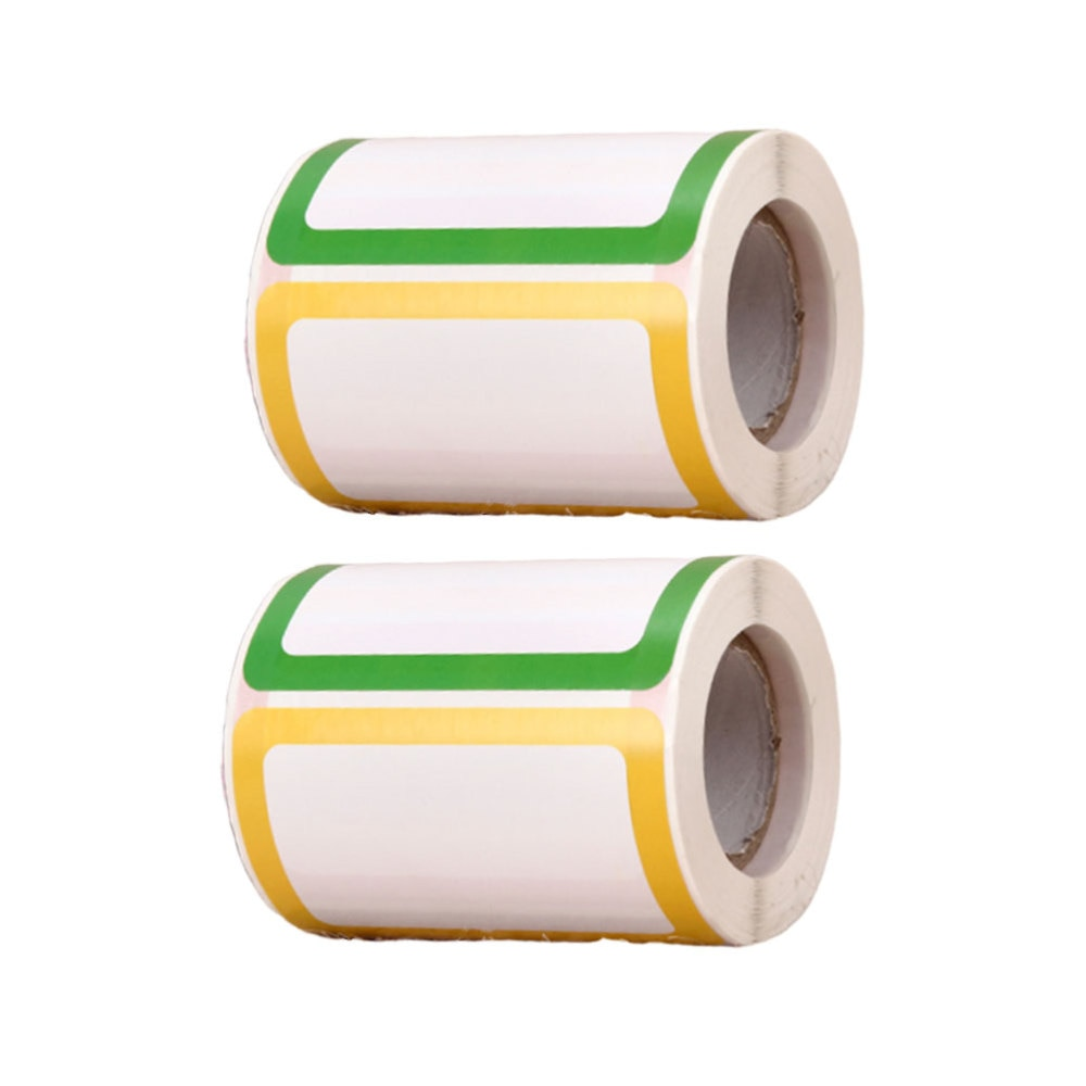 2 Rolls/600Pcs Colorful Blank Stickers Sticky Label Classify Price Label Stationery Sticker for Office Shop School