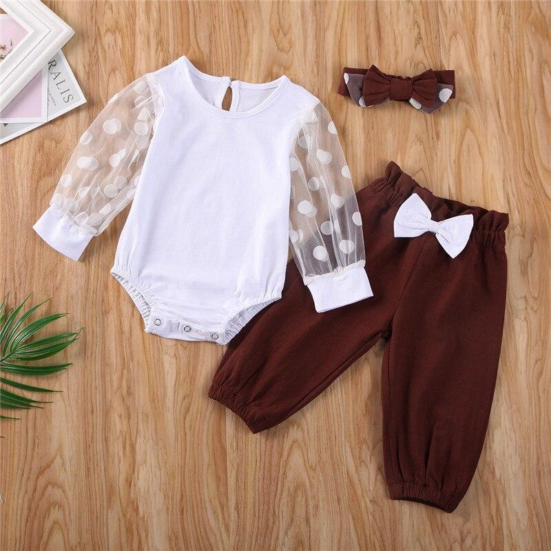 Envío Gratis ropa para bebés niñas manga larga transparente Polka Dot cuello redondo mono pantalones sólidos diadema lazo 3 piezas trajes recién nacidos