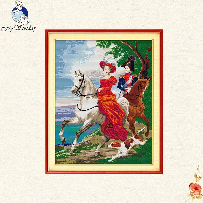 Alegria domingo casais cavaleiro impresso lona dmc contou a beleza kits de ponto cruz impresso conjunto de bordado bordado bordado bordado bordado