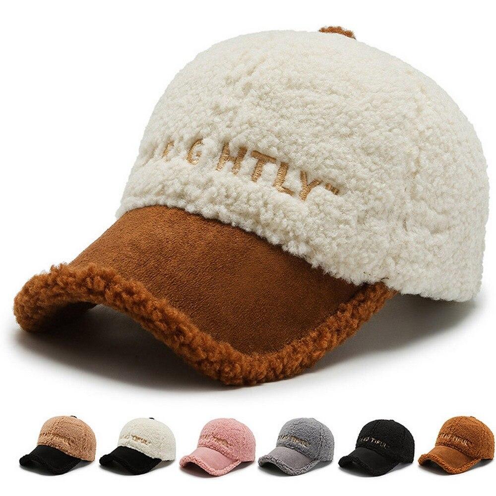 Inverno feminino bonés de beisebol chapéus femininos estilo casual lambswool superfície de pelúcia quente ao ar livre jogar moda borda curvada