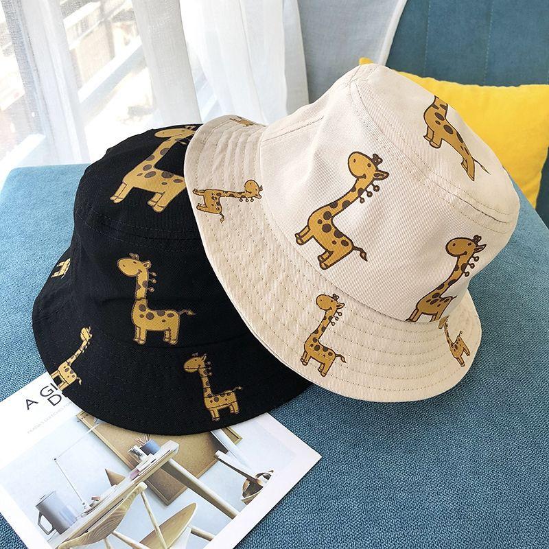 Летние Детские панамки осенние комплекты одежды для девочек с принтом жирафа Солнцезащитная шляпка для мальчиков; Верхняя одежда; Пляжная ...