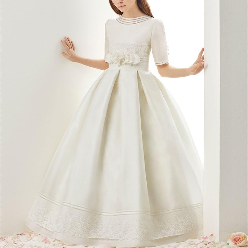 Hot Flower Girl Dress White A-Line Bow Sash Sleeveless Solid O-Neck Girls First Communion Dress Hot