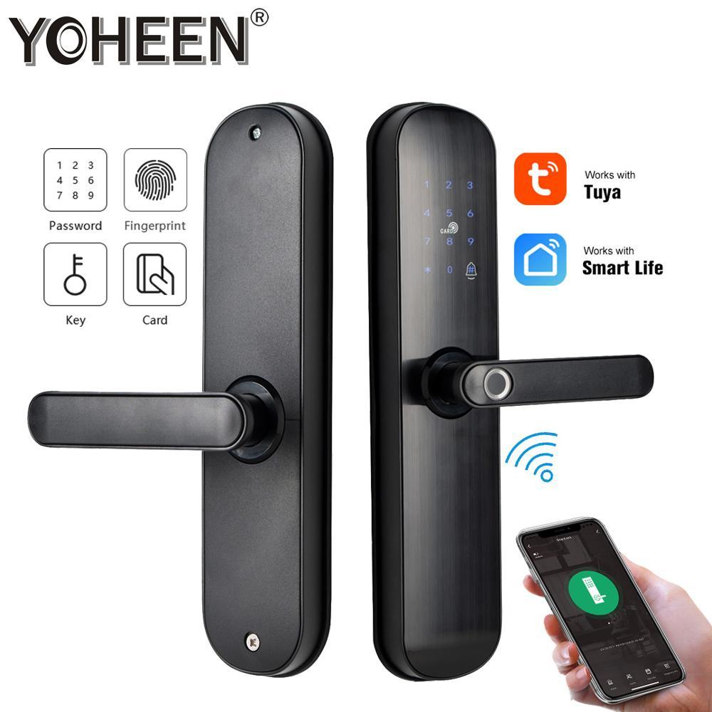 WiFi Smart Door Lock Biometric Fingerprint Passcode Lock with TUYA app