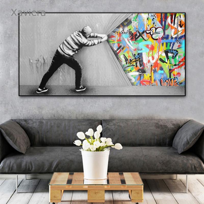 Абстрактные граффити уличное искусство Бэнкси Искусство Холст Картина в скандинавском стиле современные плакаты и принты домашний декор п...