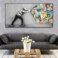 abstract graffiti street art banksy art canvas painting nordic modern posters and prints home decor bedside background board