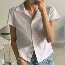 Korean Chic Summer Simple Lapel Single Breasted Cardigan Short Top Casual Short Sleeve T-shirt for W