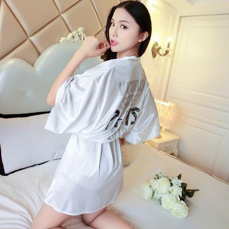 Blanco flor novia boda bata Sexy Mini Kimono bata satén ropa de dormir con cinturón cuello en V ropa interior íntima