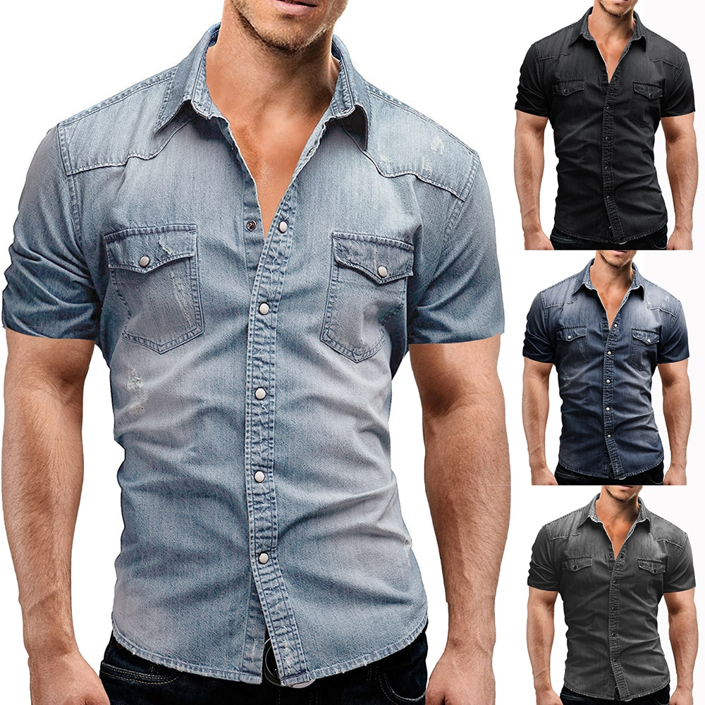 2021 summer men's denim short-sleeved shirt, casual street style