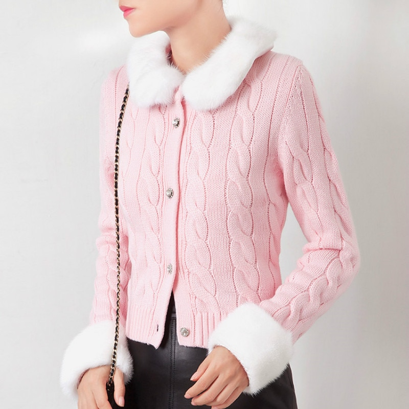 Luxury European Station Autumn and Winter Thick Sweater Women Imitation Mink Short Knitted Cardigan Western Style Top enlarge