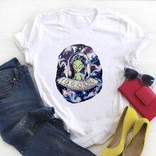 T-shirt pour femmes, vêtement à la mode imprimé, style extraterrestre, tendance, estival, graphique chemise haute