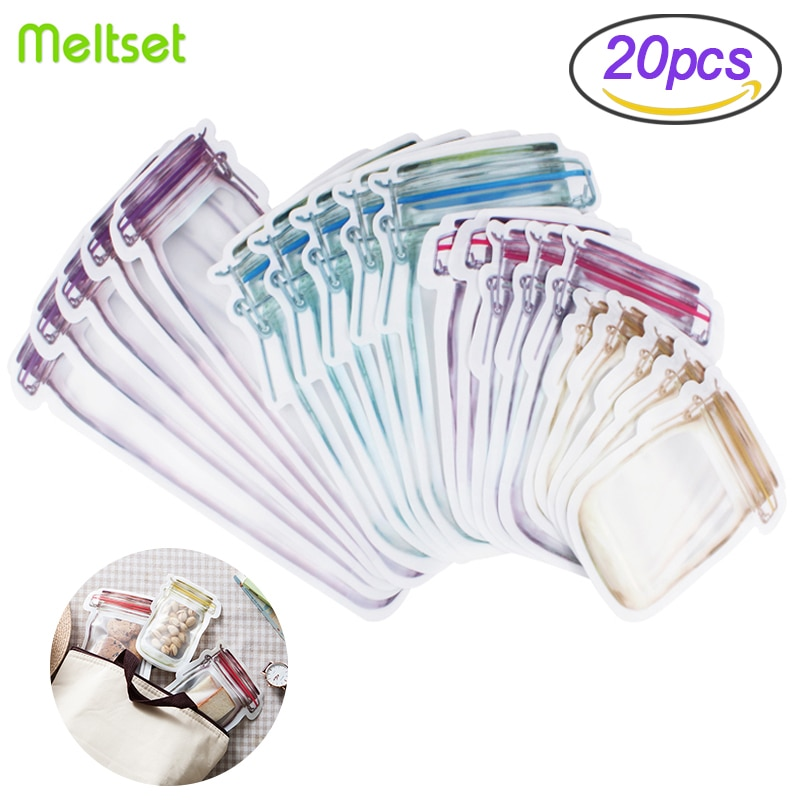 Reusable Jar Shape Zipper Bag Plastic Bags Zip Lock Leakproof Food Saver Storage Freezer Biscuit Snack Sandwich Ziplock