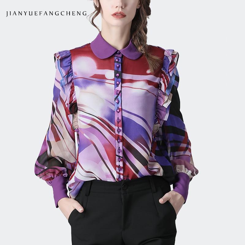 Blusa de chifón a rayas moradas a la moda para mujer, blusa holgada de manga larga de talla grande, novedad de Primavera de 2020, Camiseta con cuello mandarín y volantes para mujer