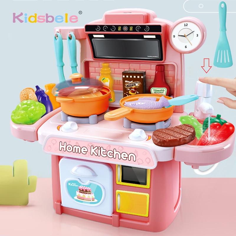 الأطفال المطبخ اللعب محاكاة أواني الطعام ألعاب تعليمية مطبخ صغير الغذاء التظاهر اللعب دور اللعب الفتيات اللعب طقم أواني الطبخ