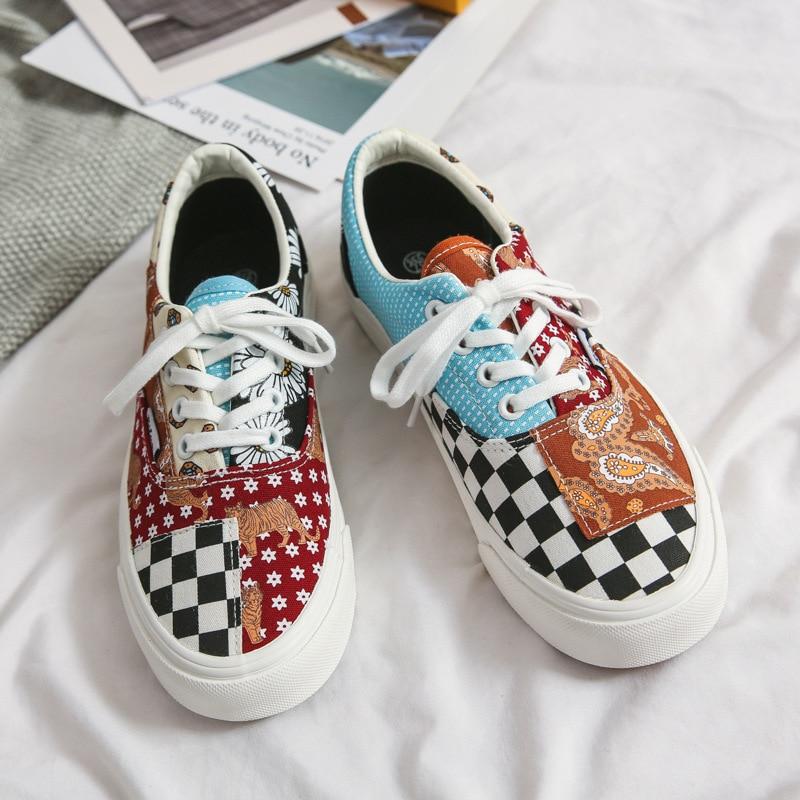 Lover's Cashew Nut Flower Ulzzang Retro Color Canvas Shoes Girl Boy Skateborad Shoes Lace Up Low 35-