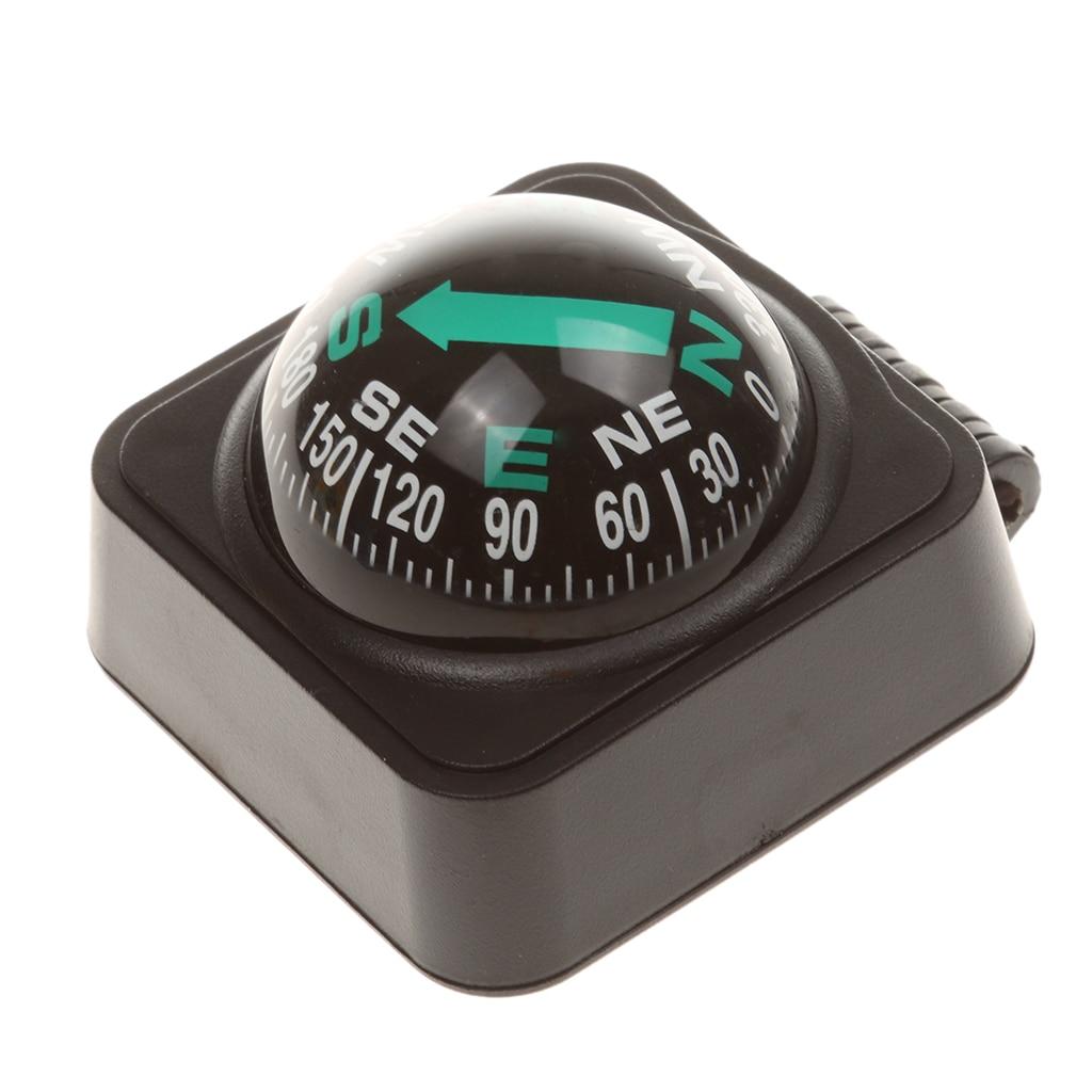 Auto compact bússola bola para encontrar direção, universal para a maioria dos carros, barcos, preto
