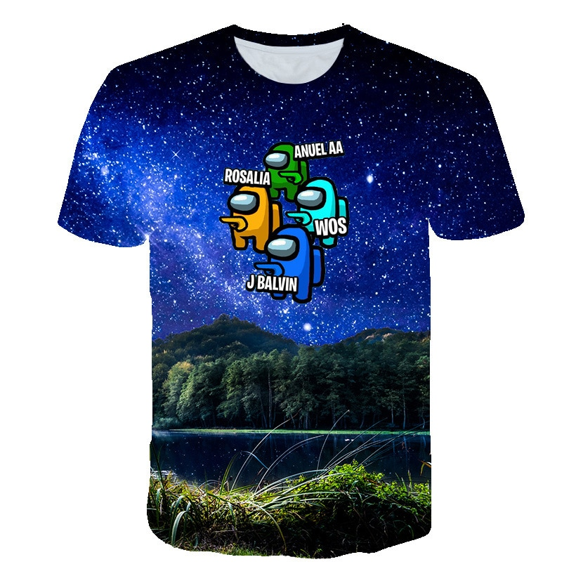 2021 Summer Pattern 3D Printed Game Among Us T-shirt Kids Anime Cartoon Boys and Girls Impostor T-shirts Children's Clothing New
