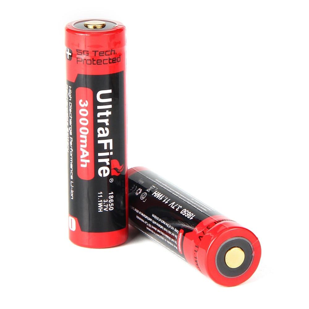 UltraFire العلامة التجارية 100% الأصلي 18650 3.7 فولت 3000 مللي أمبير بطارية 18650 بطارية ليثيوم قابلة للشحن لمصباح يدوي