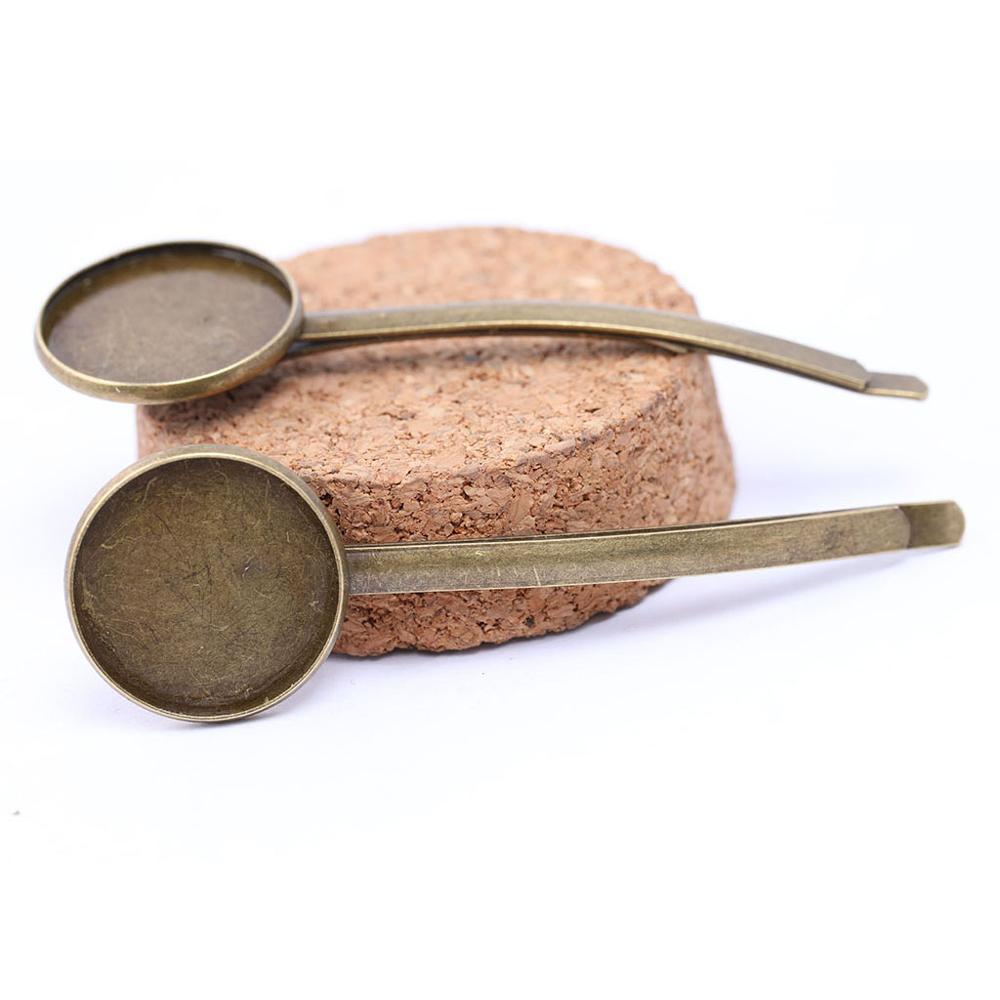 Onwear 8 Uds. Horquilla para el pelo Base accesorios bronce antiguo ajuste 20mm cabujón redondo horquilla bisel bandeja en blanco