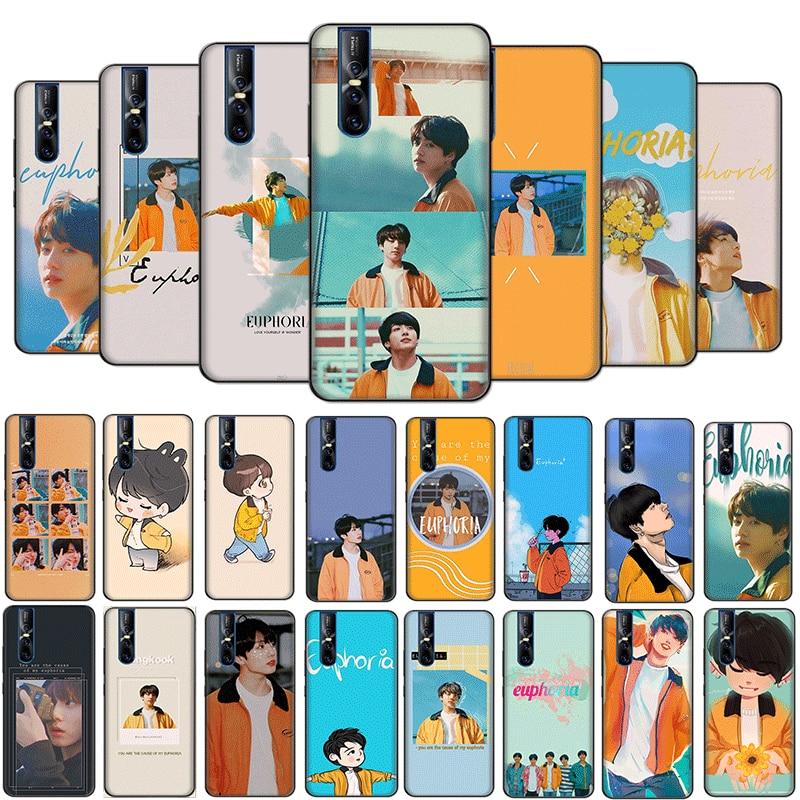 Desxz Popular KPOP Euphoria Jungkook Black Soft Case for VIVO Y11 Y17 Y5S Y53 Y55 Y55S Y69 Y71 Y81S Y91 Cover