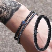 2pcsset natural black stone beads bracelet for men cross pendant bracelets fashion hand jewelry