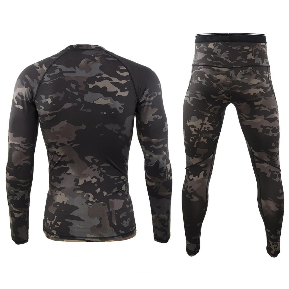 2021 новинка мода мужчины камуфляж принт длинный рукав топ брюки наряд зима термобелье нижнее белье комплект