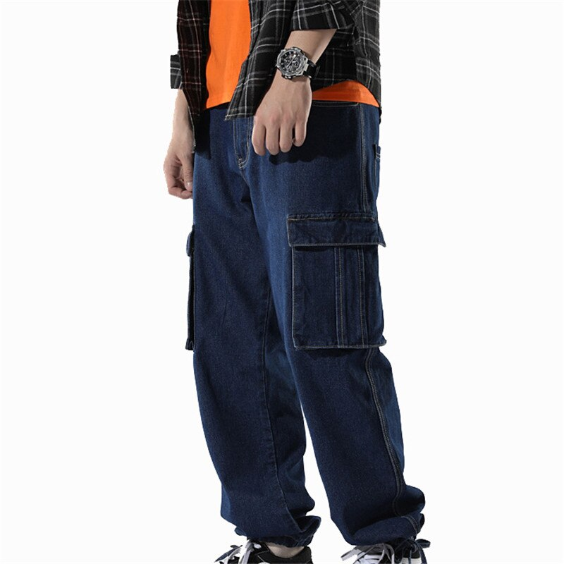Pantalones vaqueros holgados de Hip Hop MORUANCLE para hombre Pantalones sueltos de mezclilla Cargo con múltiples bolsillos vaqueros de moda Rock tamaño M-XXXL