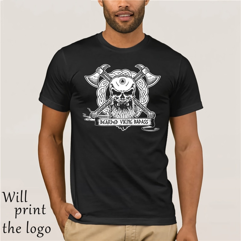 Bearded vikingo Badass blanco hombres camisa para adolescente mecánica cráneo manga corta algodón orgánico camiseta impresa