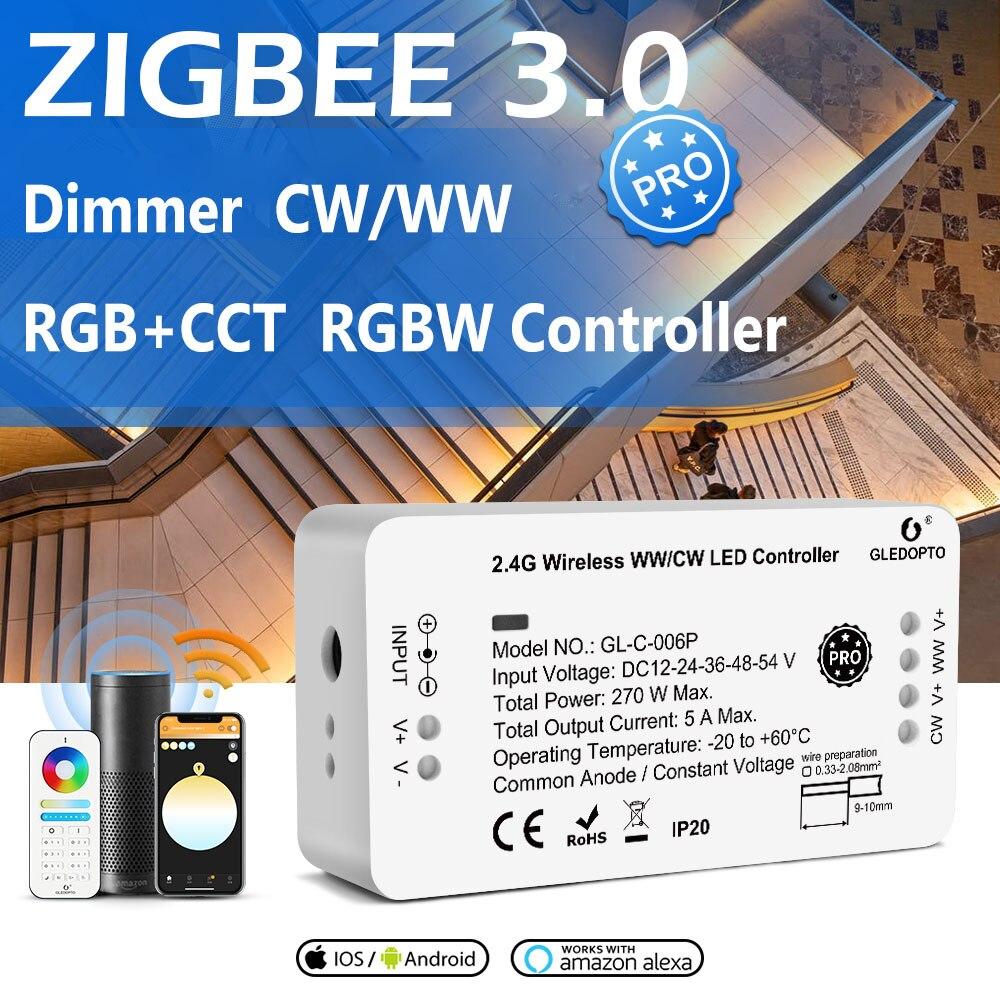 DC12-54V GL-C-006P GL-C-007P GL-C-008P GL-C-009P Zigbee PRO Dimmable RGB+CCT RGBW WW/CW 2.4G Wireless LED Strip Controller