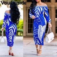 spring and autumn printed pattern casual fashion womens dress long sleeve slash neck midi dress