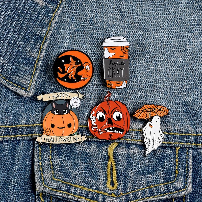 Broche esmaltado feliz Halloween personalizado café Luna fantasma calabaza broches mochila ropa Lapel Pin Fun Badge joyería regalo