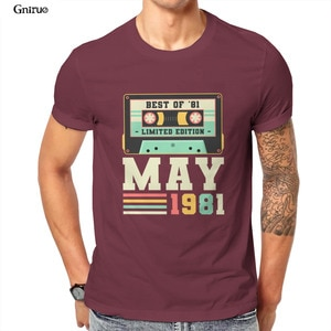 Оптовая продажа, винтажная трехкомпонентная футболка унисекс 40 лет 1981 в подарок на день рождения, забавная черная футболка большого размера в стиле панк с принтом, 83838