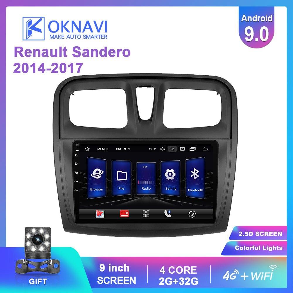 OKNAVI Android 9.0 Car Player GPS Navigation Multimedia For Renault Sandero Symbol 2014 2015 2016 2017 Radio Car Navigation 4G