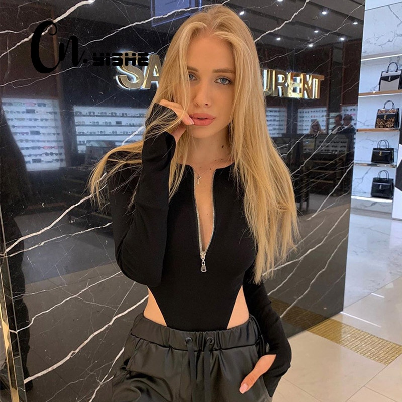 CNYISHE 2021 Spring Summer Rompers Women Jumpsuits Fashion Solid Zipper Long Sleeve Sexy Sheath Skinny Women Rompers Bodysuits