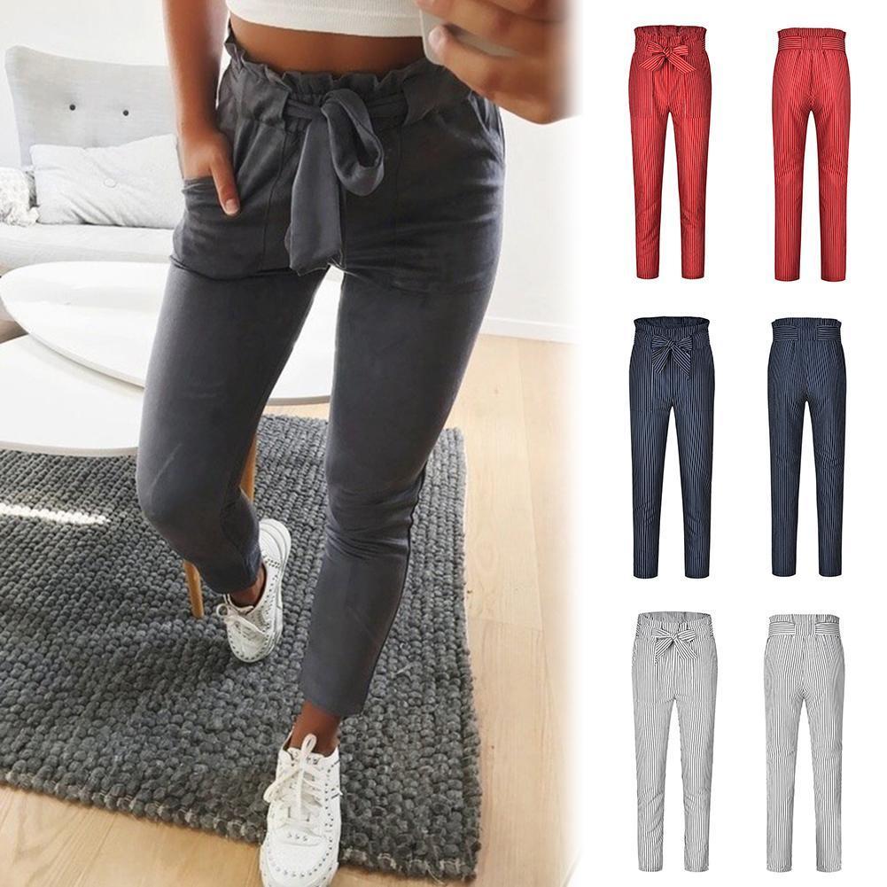 Women Chiffon High Waist Harem Pants Bowknot Waistband Elastic Pocket Trousers Harem Pants Long Trou