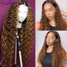 Perruque Lace Front Wig frisée brésilienne naturelle Remy   Cheveux humains, couleur ombré 1b/27, blond ombré, 13x6, pre-plucked, rêve beauté
