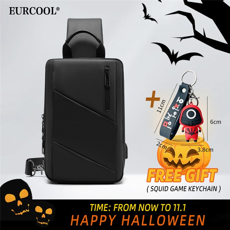 EURCOOLCrossbody حقيبة الرجال USB شحن الصدر حزمة السفر طارد المياه حقائب اليد حقيبة كتف عادية المحافظ الحبار لعبة المفاتيح