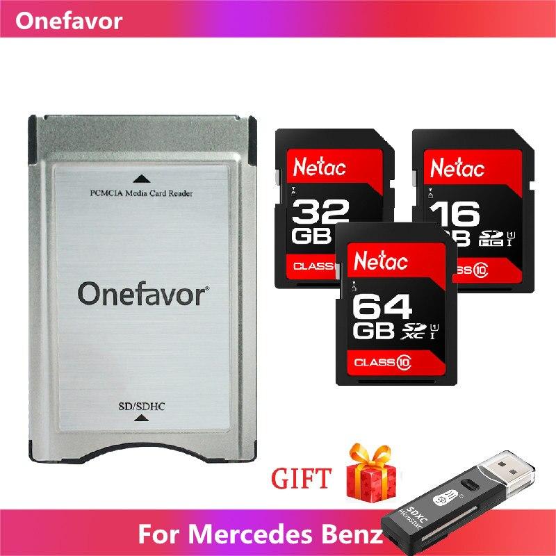 Leitor de cartão de pcmcia com cartão de netac sd 16gb 32gb 64gb para a memória mp3 do benz de mercedes