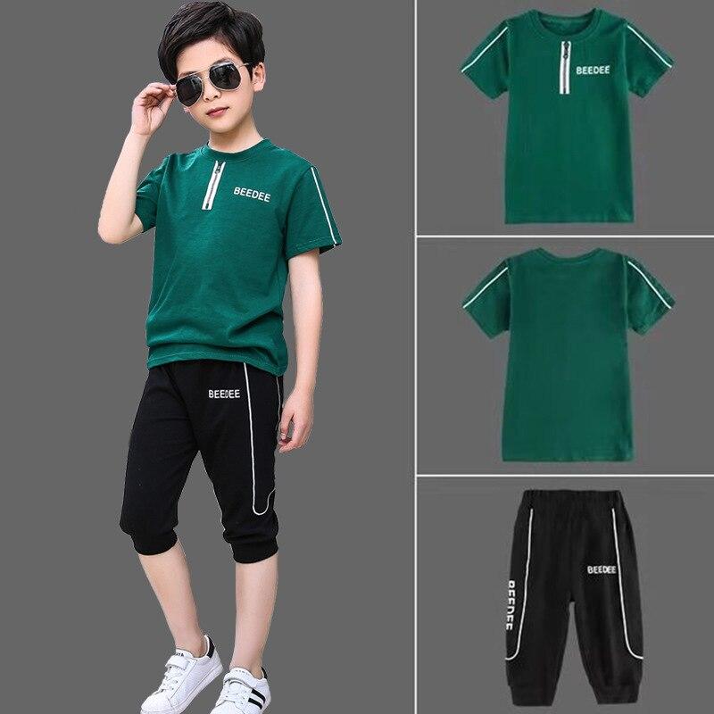 Crianças define meninos verão novas crianças de manga curta t camisa + calça dois conjuntos de terno do esporte das crianças 5-13 idades roupas 10 12 ano