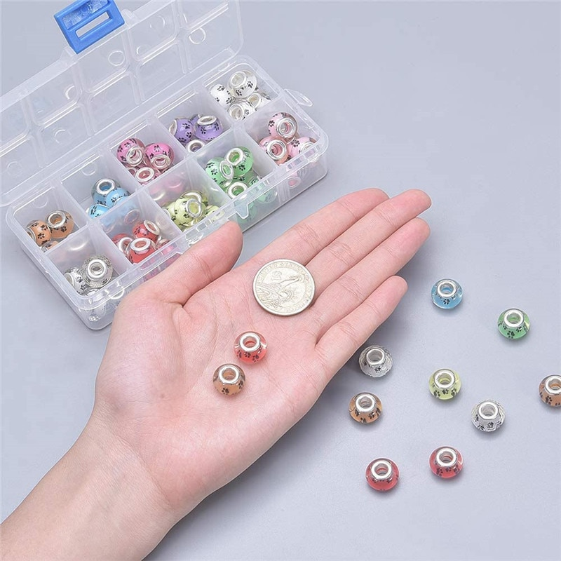 1Assorted Color Cute Dog Puppy Paws Print Murano Large Hole European Beads Fit Pandora Bracelet Jewelry Chain Spacer Beads  - buy with discount