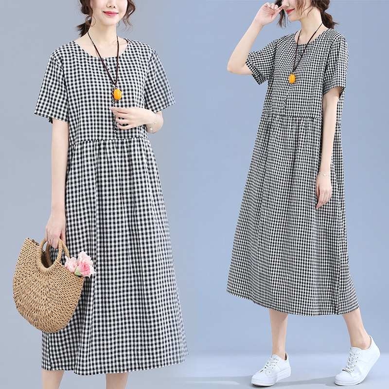 Art Retro Plaid Cotton and Linen Short Sleeve Dress 2020 Summer Loose Slimming Casual A- line Midi D
