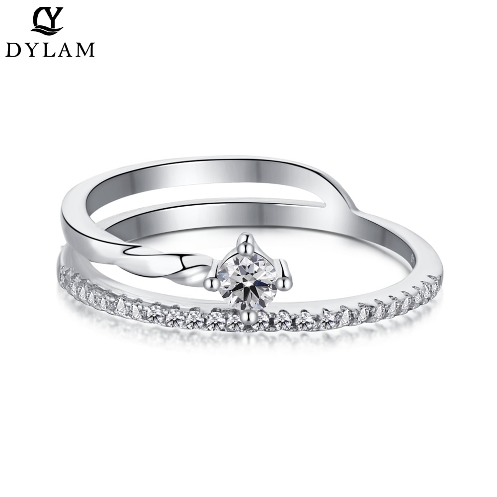 DYLAM Simple Fashion Wedding Rings Engagement Ring Diamond Opening Gentle And Sweet Jewelry Ring Bow anillo de compromiso