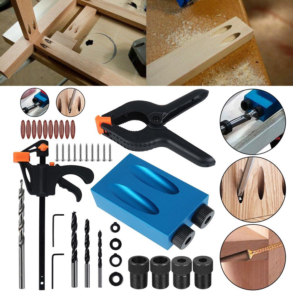 34Pcs Woodworking Tools Oblique Angle Hole Locator Drill Bits Set Pocket Hole Jig Kit Guide Set Hole Puncher DIY Carpenter Tools
