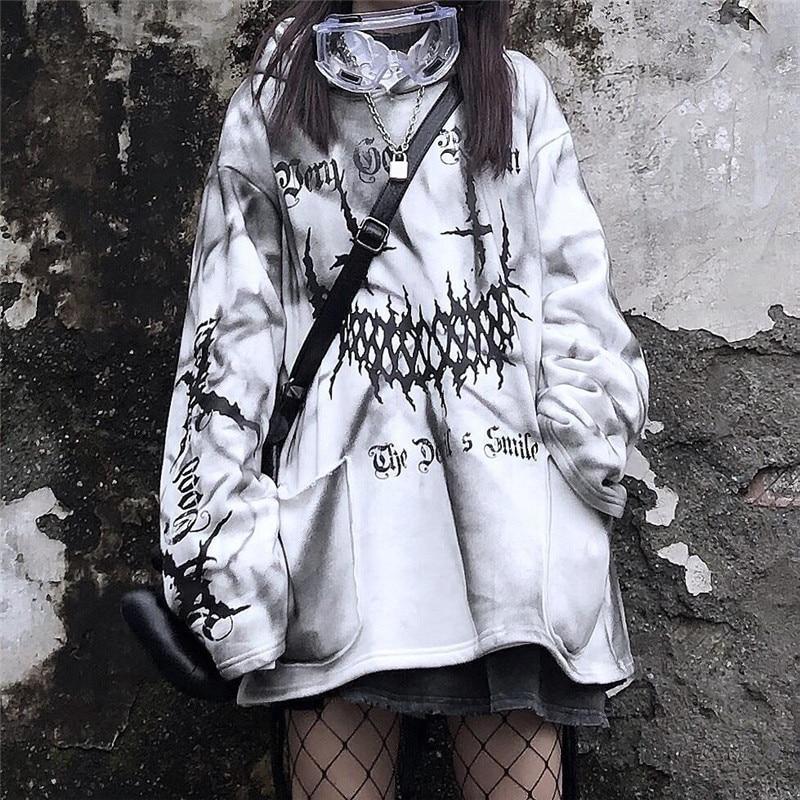 Уличная одежда, смешные топы с принтом в стиле Харадзюку, осенняя белая модная женская Повседневная Уличная Толстовка в японском стиле Kpop д...