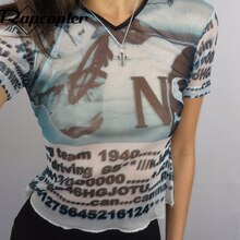Rapcopter Crop Top stampato Vintage maglia Grunge Faircore corsetto Top t-shirt estetica donna pullover manica corta panno Harajuku
