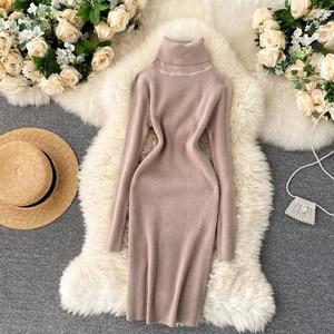 Women Turtleneck Knitting Dress Autumn Winter Korean Long Sleeve Slim Pencil Dress Thicken Warm Bodycon Sweater Dress DZA387